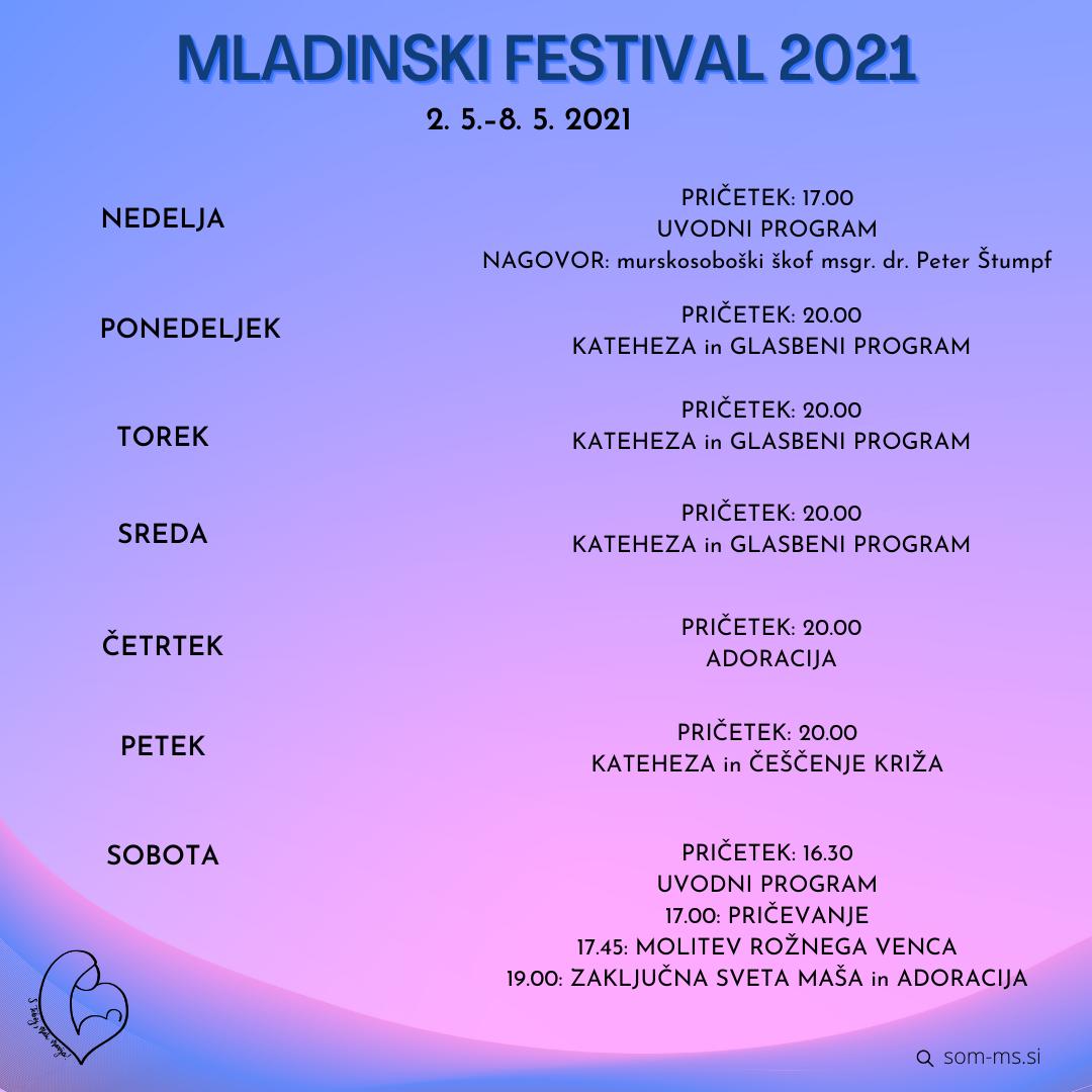 PROGRAM MLADINSKI FESTIVAL